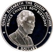 5 dollars (50ème anniversaire du Prince Charles) – revers