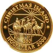 """50 Dollars - The three """"Wise Men"""" on camels – revers"""