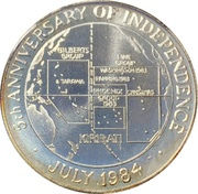 10 dollars (5e anniversaire de l'indépendance) – revers