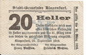 20 Heller (Klagenfurt) – avers
