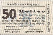 50 Heller (Klagenfurt) – avers
