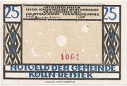 25 Pfennig (Kölln-Reisiek) – avers