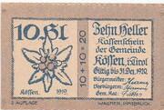 10 Heller (Kössen in Tirol) – avers
