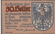 30 Heller (Kössen in Tirol) – avers