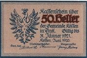 50 Heller (Kössen in Tirol) – avers