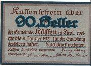 90 Heller (Kössen in Tirol) – avers