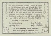 20 Heller 1920 (Lasberg) – revers