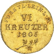 6 kreuzer Karl Friedrich Wilhelm (Frappe essai en or) – revers