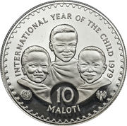 10 Maloti - Moshoeshoe II (Année internationale de l'enfance ; Piedfort) – revers