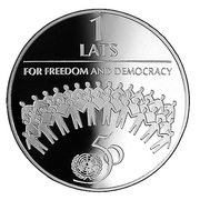 1 Lats (For Freedom and Democracy) – revers