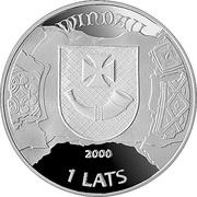 1 Lats 2000 (Hanzas pilsētas,Ventspils,Hansa cities) – avers