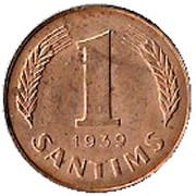 1 santims – revers