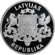"""10 latu """"The 75th Anniversary of the Proclamation of the Republic of Latvia"""" -  avers"""