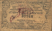 20 Centavos (Leyte) – avers