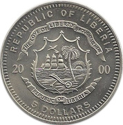 """5 dollars - Homme sur la lune (avec """"5 DOLLARS"""") – avers"""