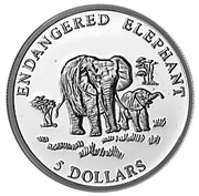 5 Dollars (Endangered Elephant) – revers