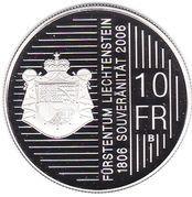 10 francs Hans-Adam II (200 ans de souveraineté) – revers