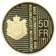 50 francs Hans-Adam II (200 ans de souveraineté) – revers