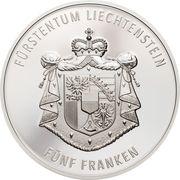 5 Franken - Anton Florian (300 Year Liechtenstein) – revers
