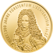 25 Franken - Anton Florian (300 ans Liechtenstein) – avers