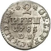 2 pfennig Ludwig Heinrich Adolf – revers