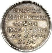 1½ ducat Friedrich Wilhelm Leopold (Naissance; Frappe essai en argent) – revers
