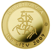 100 litų (Millennium of the mention of the name of Lithuania) – avers