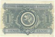 1 Centas (Lithuania) – revers