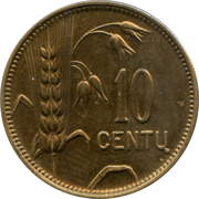 10 centų – revers