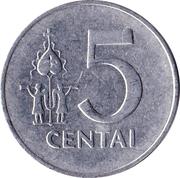 5 centai – revers