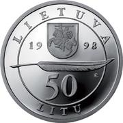 50 litų (200th birth Anniversary of Adam Mickiewicz (Adomas Mickevičius)) -  avers