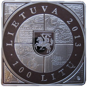 100 litų (1st Map of Grand Duchy of Lithuania) – avers