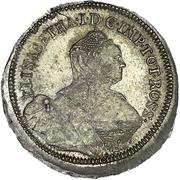 24 kopecks Élisabeth I (refrappe; matrice d'avers origine; grand flan) – avers