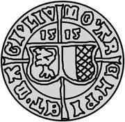 1 ferding Wolter von Plettenberg & Jasper Linde (Riga; bouclier courbé; enfant à droite) – avers