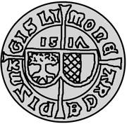 1 ferding Wolter von Plettenberg & Jasper Linde (Riga; bouclier liss; enfant à gauche; moitié gauche ombragée) – avers