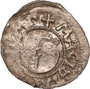 1 pfennig Wolter von Plettenberg & Jasper Linde (Riga; une bouclier; fond lisse avec la moitié gauche ombragée) – avers