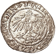 1 schilling Heinrich von Galen & Wilhelm von Brandenburg (Riga; haut bosselé à côtés réguliers) – revers