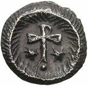 ¼ siliqua Au nom de Justin II, 565-574 (staurogramme ouvert sans point au-dessus) – revers