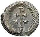 ¼ silique Au nom de Justinien I, 527-565 (avec étoiles; cheveux casqué) – revers