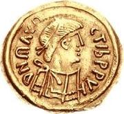 1 tremissis Au nom de Maurice Tiberius, 582-602 (Victoire à visage plein; sans N dans le champ) – avers
