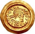 1 tremissis Au nom de Maurice Tibère, 582-602 (Victoire au visage brut et aux cheveux drapés; glands coulants) – avers