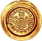 1 tremissis Au nom de Maurice Tibère, 582-602 (Victoire au visage brut et aux cheveux drapés; glands coulants) – revers