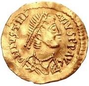 1 tremissis Au nom de Justinien I, 527-565 (glands parallèles) – avers