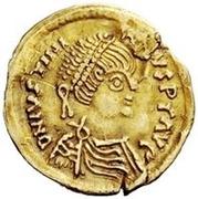 1 tremissis Au nom de Justinien I, 527-565 (glands croisés; pendaison) – avers