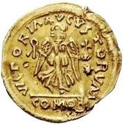 1 tremissis Au nom de Justinien I, 527-565 (glands croisés; pendaison) – revers