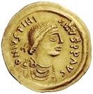 1 tremissis Au nom de Justinien I, 527-565 (glands croisés; tout droit) – avers