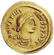 1 tremissis Au nom de Justinian I, 527-565 (glands croisés; tout droit) – avers