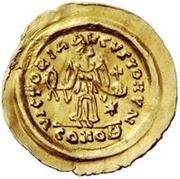 1 tremissis Au nom de Justin II, 565-574 (Victoire face à gauche; petit ruban) – revers