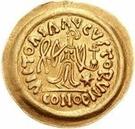 1 tremissis Au nom de Justin II, 565-574 (Victoire face à gauche; ruban grand) – revers