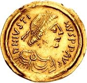 1 tremissis Au nom de Justin II, 565-574 (Victoire face à droite; avec étoile et flottant) – avers